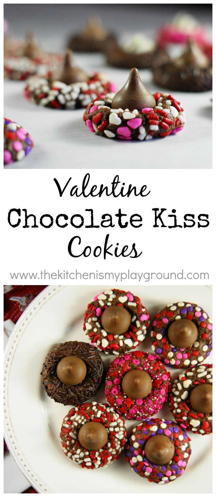 Chocolate Valentine Kiss Cookies ... such a pretty Valentine sweet treat! www.thekitchenismyplayground.com