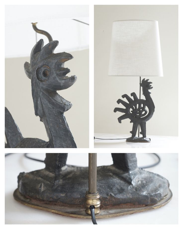 French Bronze Rooster Design Table Lamp, c.1950.