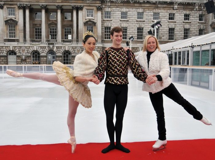 Erina Takahashi and James Streeter of the English National Ballet, with Olympic champion Jayne Torvill at the Somerset House Tiffany & Co Ice Rink in London, UK. Photograph :  xzDaveM