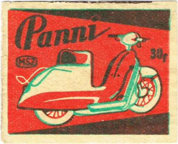 Scooter. Vintage matchbox label.