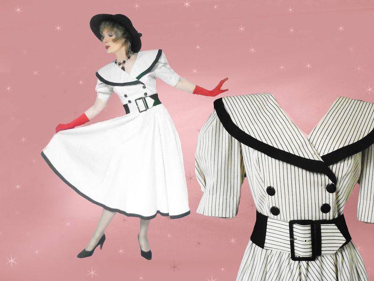 Spring Midi Dress - Retro Big Skirt Dress - Womens 80s Vintage Dress - Black and White - Wide Belt - Portrait Collar - Unused Vintage Dress by LunaJunctionVintage on Etsy
