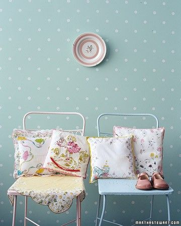 polka dotted wall paper