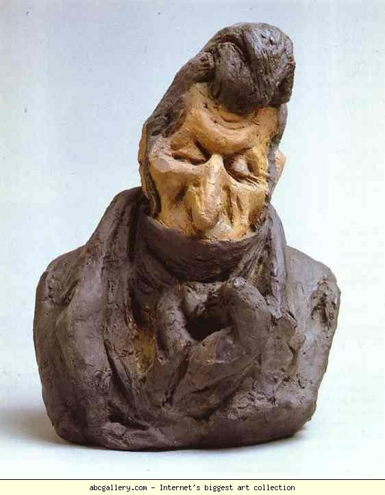 Honore Daumier. Jean-Auguste Chevandier de Valdrome (1781-1878), Deputy and Peer of France. 1833. Colored clay. Musée d'Orsay, Paris, France
