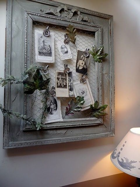 Use chicken wire in a vintage frame...interesting way to display old family photos... great idea for displaying photo's and hand stamped cards!