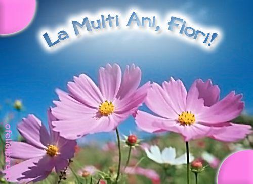 Felicitare de Florii cu mesajul La multi ani, Flori!