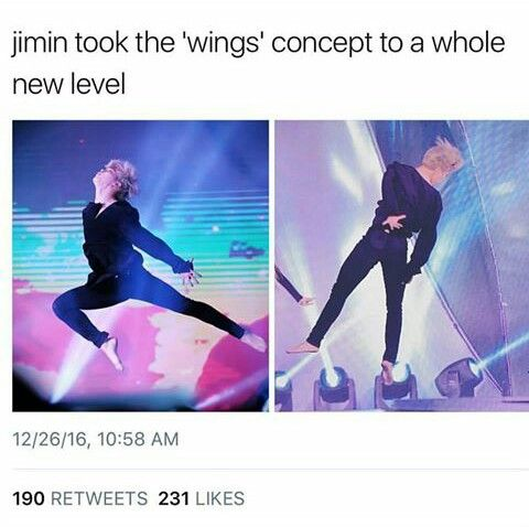 Jimin on stage: What is this gravity you speak of?