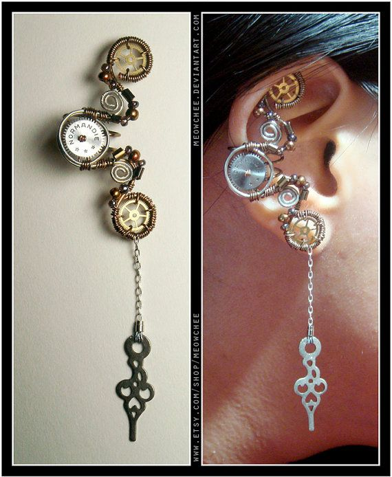 I love this ear cuff! such a beautiful design #steampunk #jewellery