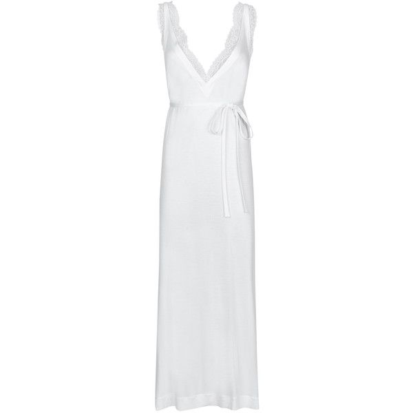 La Perla Charisma Long Night Dress ($260) ❤ liked on Polyvore featuring intimates, sleepwear, nightgowns, long nightdress, long sleepwear, white nightgown, la perla sleepwear and la perla nightgown