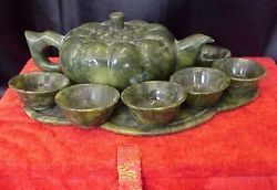 Large Chinese Jade Teapot and 6 Jade Cups set