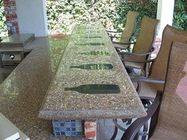 Glass Bottle Concrete Countertops | Wine Bottles Were Melted Into The  Countertop, Above.