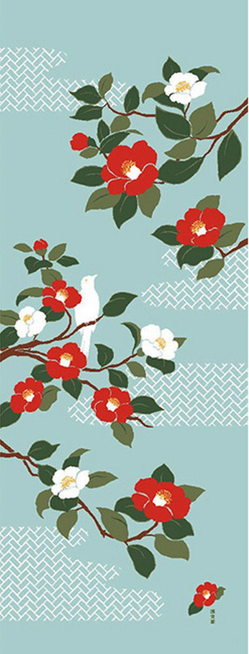 Japanese Tenugui Fabric, Red & White Camellia, Botanical Flower Design, Bird, Hand Dyed Floral Fabric, Wall Art Hanging, Gift Idea, JapanLovelyCrafts