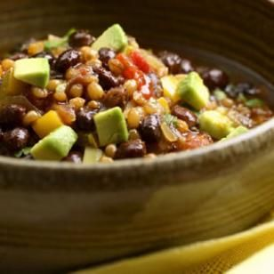 "Try this vegan Wheat Berry-Black Bean Chili Recipe. ""It's an absolutely amazing soup!"" ~EatingWell"