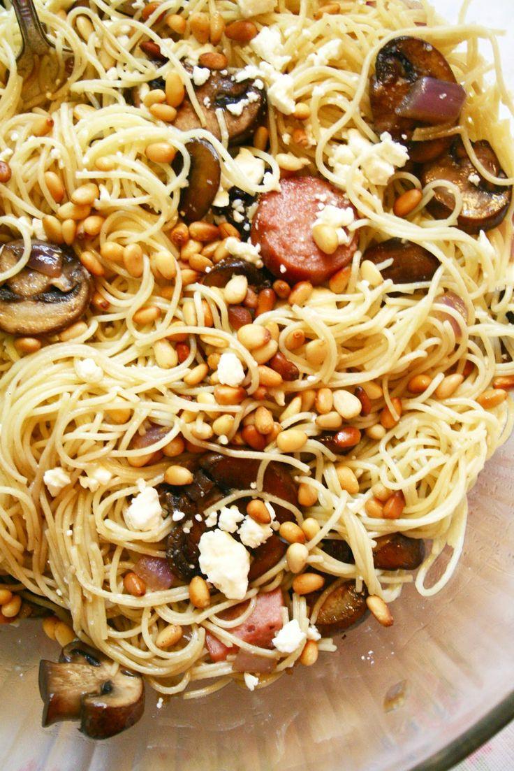 Nutty feta kielbasa mushroom pasta. Pretty much all of my favorite things.