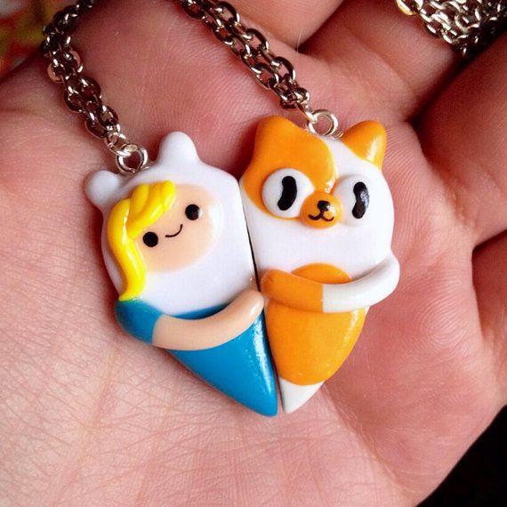 Adventure Time Heart Friendship Necklaces por momomony en Etsy