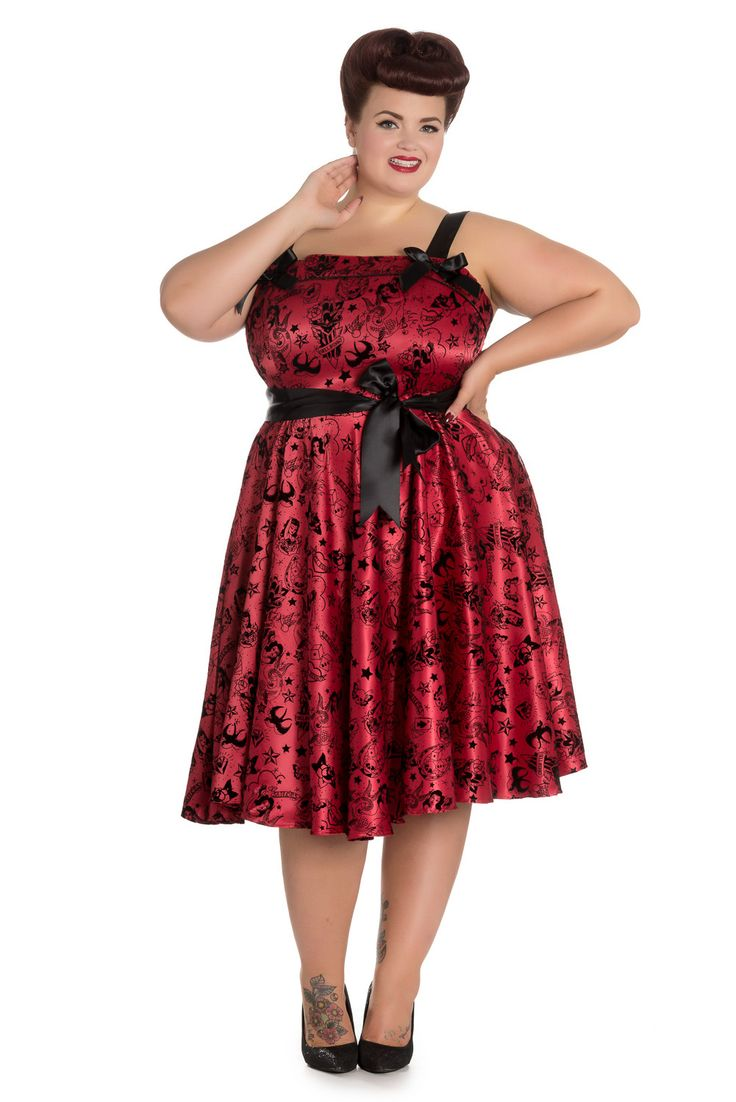 Hell Bunny Plus size Bloody Marry Red Rockabilly Gothic Velvet Tattoo Art Flocked Party Dress