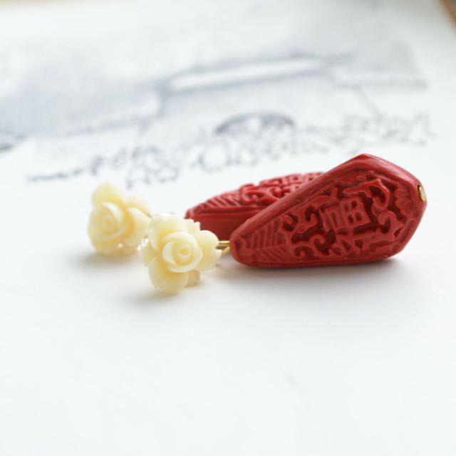 Oriental Chinoserie Red Prosperity Cinnabar Teardrop Earrings on Rose Ear Studs on Carousell