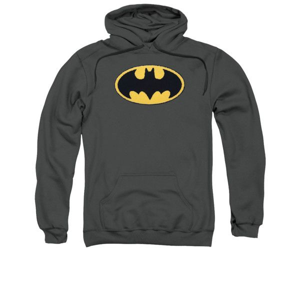 Batman Embroidered Classic Logo Mens Pullover Hoodie
