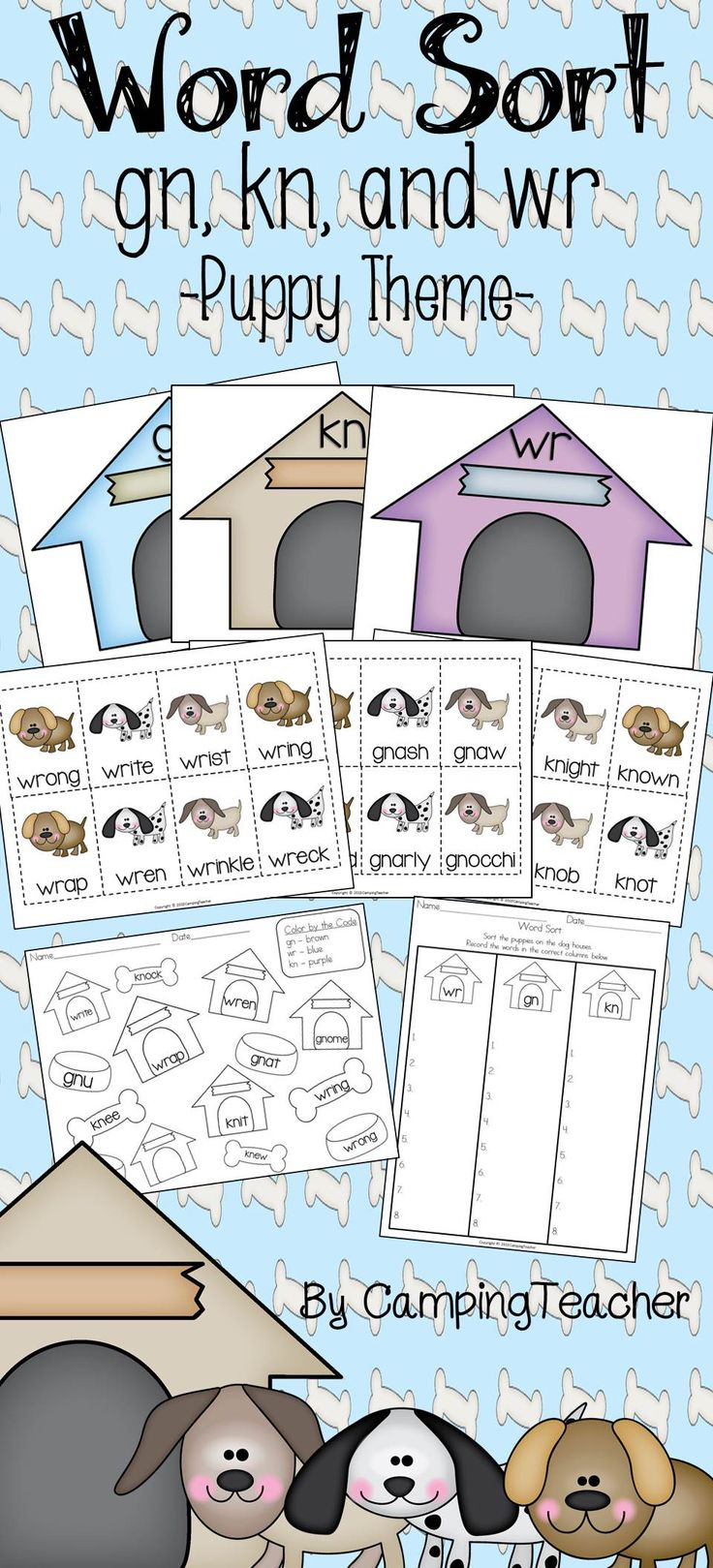 Silent letters gn, kn, wr word sort