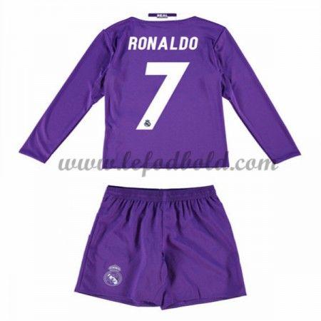 Billige Fodboldsæt Real Madrid Børn 2016-17 Ronaldo 7 Langærmet Udebanesæt