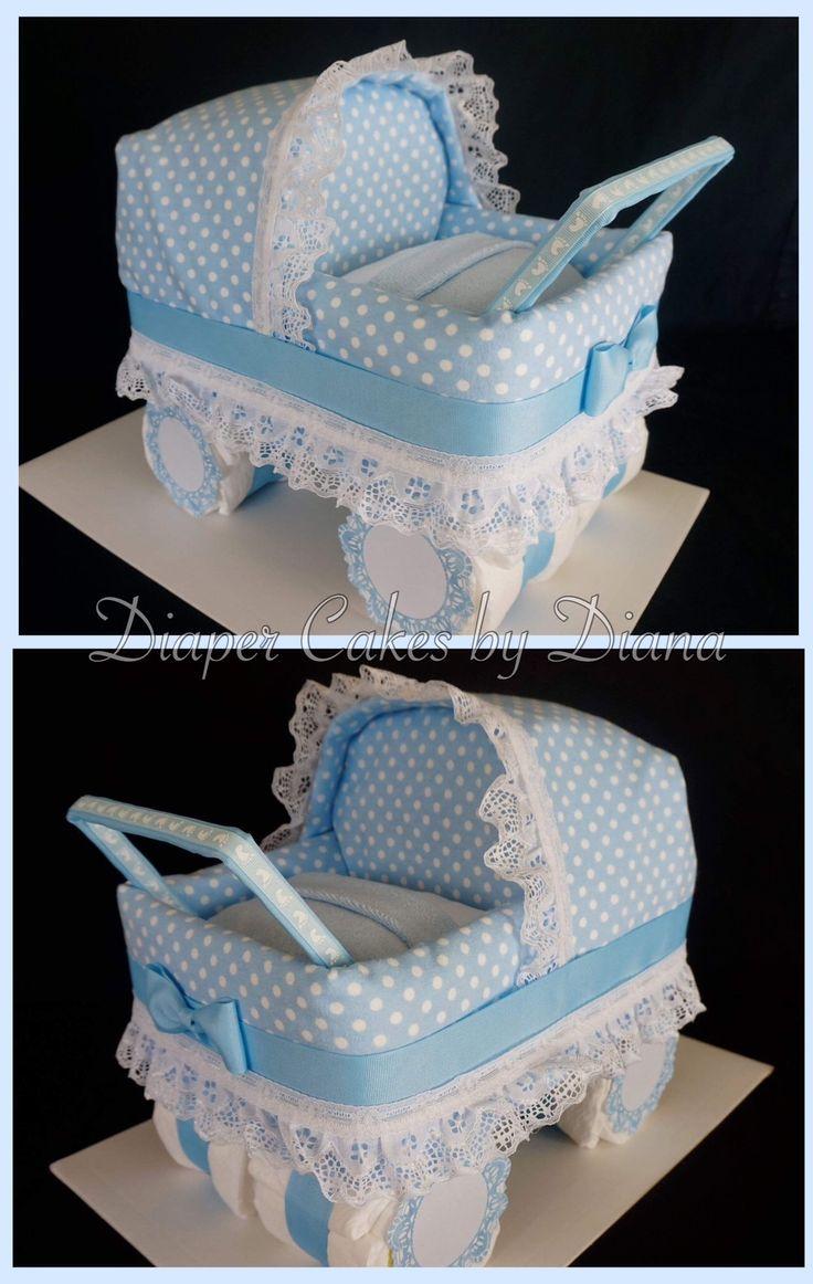 Baby Boy Carriage Diaper Cake www.facebook.com/DiaperCakesbyDiana