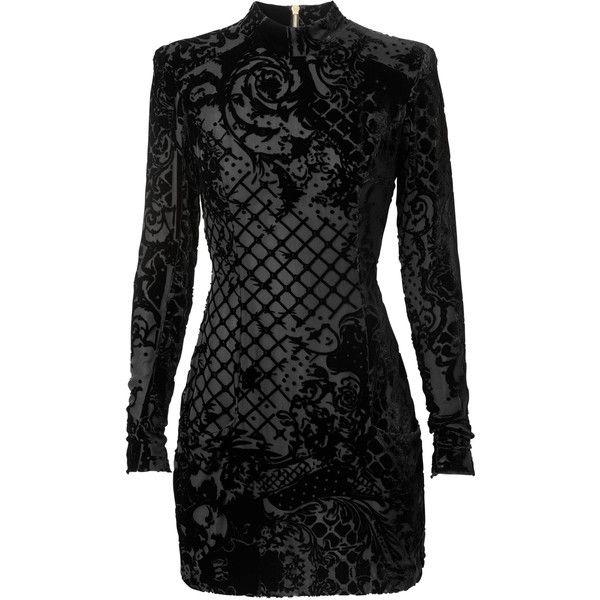 Balmain x H&M: Black & Gray Dress ❤ liked on Polyvore featuring dresses, balmain and short dresses