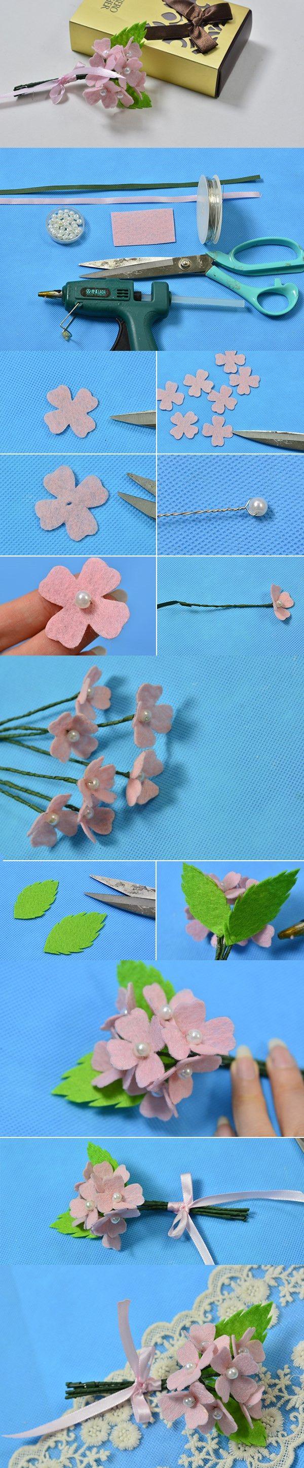 DIY Handmade Pink Felt Flower Bouquet