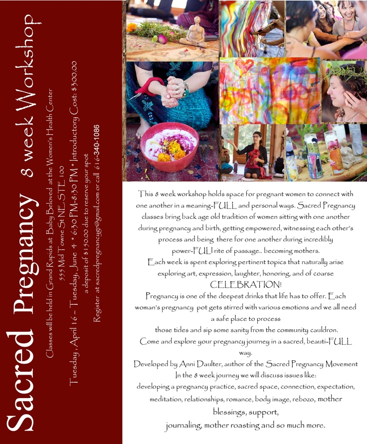 8 week Sacred Pregnancy classes in Grand Rapids starting on April 16
