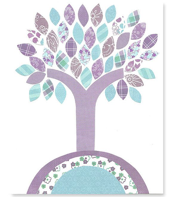 Nursery Tree Art Aqua and Purple Decor Turquoise Lavender Girl's Room children playroom office living room bedroom 8 x 10 or 11 x 14 Print on Etsy, $16.83 CAD