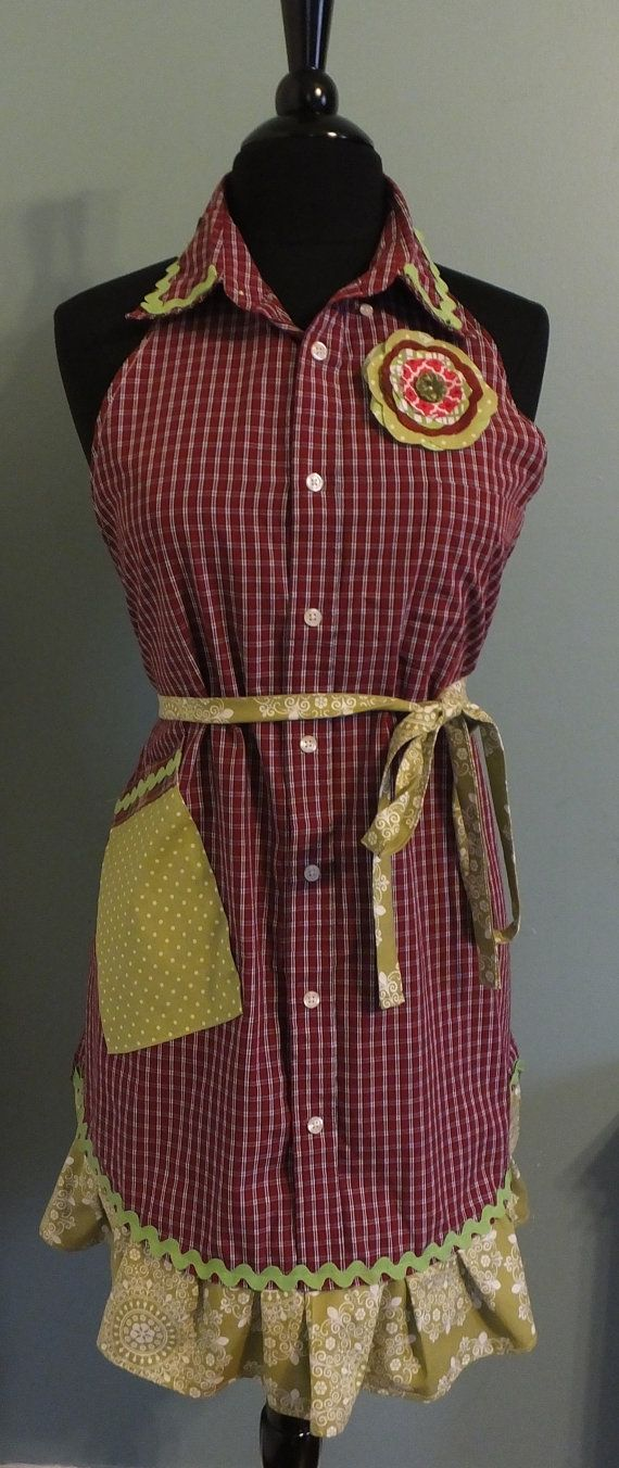 men's shirt apron | ... mas Holiday Upcycled Recycled Mens Shirt Apron Red Plaid on Etsy