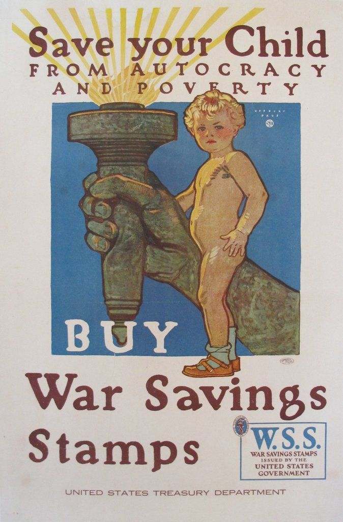 1918 Original American WWI Propaganda Poster, Save Your Child - Herbert Paus. Herbert Paus (1860-1944) was a native of Minneapolis and got his first job as a cartoonist for the St. Paul Pioneer Press. Ambitious to become an illustrator, he enrolled in the Fine Arts School there, later found employment in a Chicago art studio.