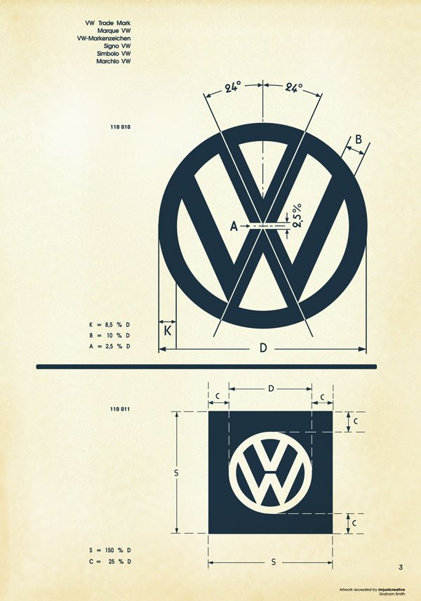 Recreated-Vintage VW Logo Specification Sheet