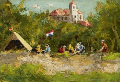 Piet Roelof Zwiers Meppel 1907-1965 Kamperen (tezamen met 17096), olie op board 12 x 17,5 cm. 1616934/Coll.bv  Prijs: € 2.250,-- samen met 17096 (voorkant, 350 euro)  'De schilder van Giethoorn' was de bijnaam van Piet Zwiers. Hij werd in 1907 geboren in Meppel en woonde en werkte bijna zijn hele leven in de Kop van Overijssel, eerst in Steenwijk en daarna in Giethoorn .