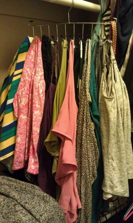 Been doing this for years now. Use a tie rack to hang tank tops and tube tops. Saves drawer/closet space :)