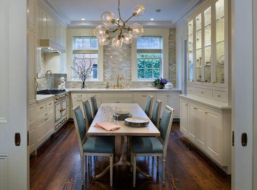 Love the subtle shimmer of the tile.Cabinets, Backsplash Tile, Dining Room, Lights Fixtures, Subway Tile, Kitchens Tables, Wall Tile, Dining Tables, White Kitchens
