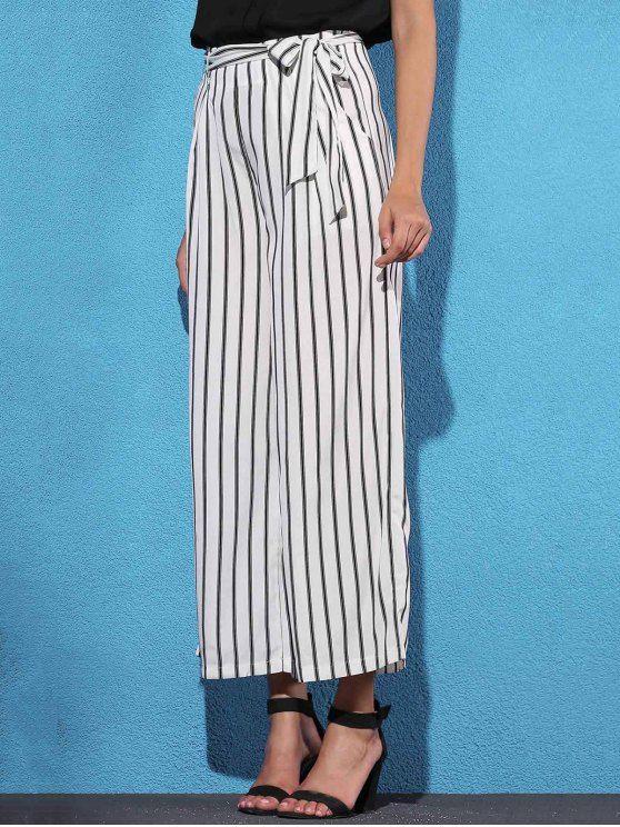 Pantalones de Rayas con Lazo Lateral con Pierna Ancha - Blanco S
