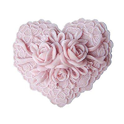 Moldiy Heart Shape Silicone Soap Making Art Clay Craft Mold with Delicate Floral Pattern
