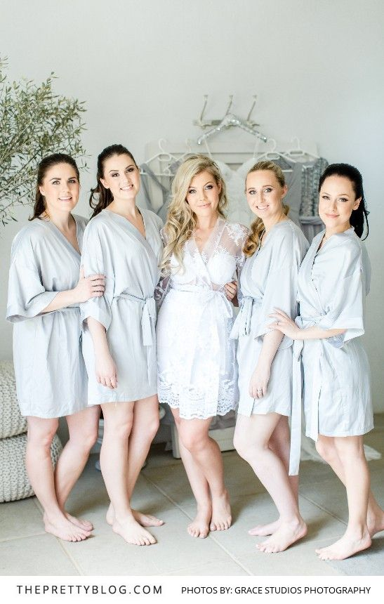 Matching Light Grey Robes for your Bridal Party   Photography by Grace Studios Photography