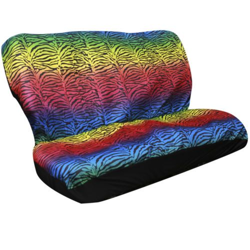 2pc Set Zebra Stripes Rainbow Animal Print 1 Back Bench Row Auto Seat Cover
