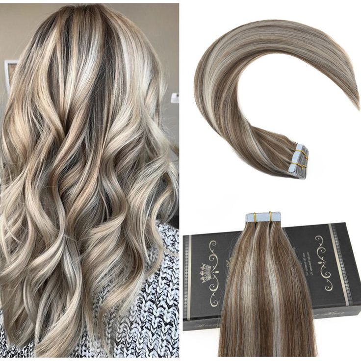 Details about Ugeat 20Pcs Balayage Tape in Hair Extensions Golden Brown and Blonde Ombre Weft