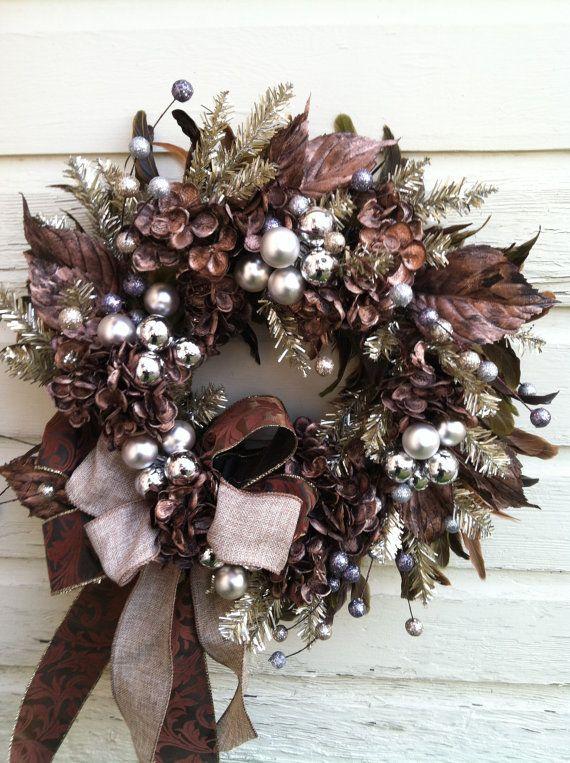 $92.00 Elegant Bronze Silver Christmas Wreath with by marigoldsdesigns