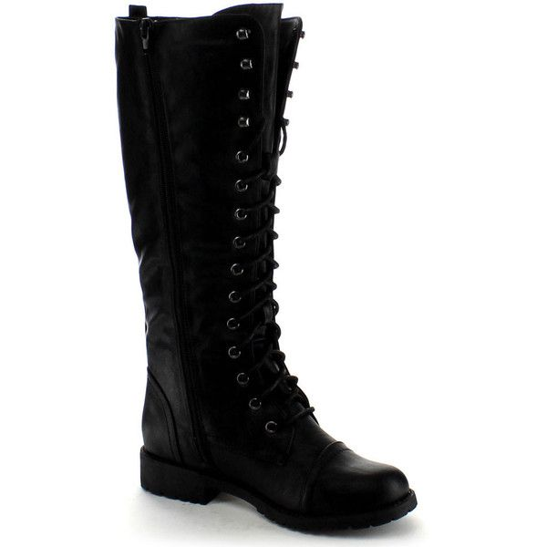 Nature Breeze Women's 'Lug-11hi' Lace-up Knee-high Military Boots (£30) ❤ liked on Polyvore featuring shoes, boots, black, knee-high boots, lace up combat boots, black military boots, black platform boots, combat boots and knee high platform boots