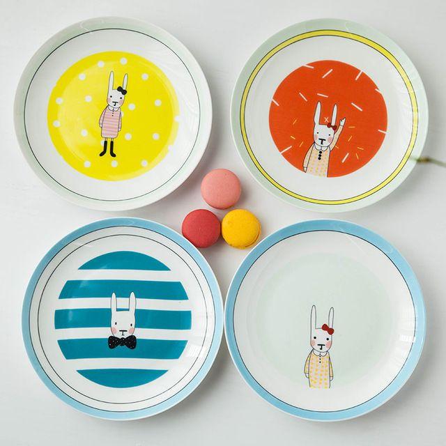 1pc Cartoon Rabbit Ceramic Dinner Plate Household Breakfast Plate Porcelain Steak Snack Dishes Tableware Supply 8 Inch Snacks Dishes Tableware Breakfast Plate