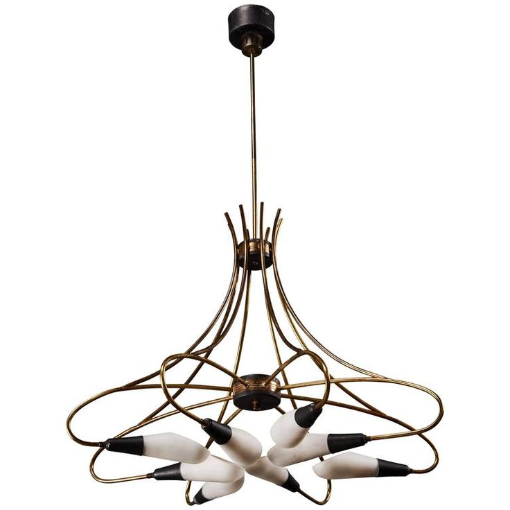 chandelier and pendant lighting. curvilinear italian stilnovo eightlight chandelier and pendant lighting