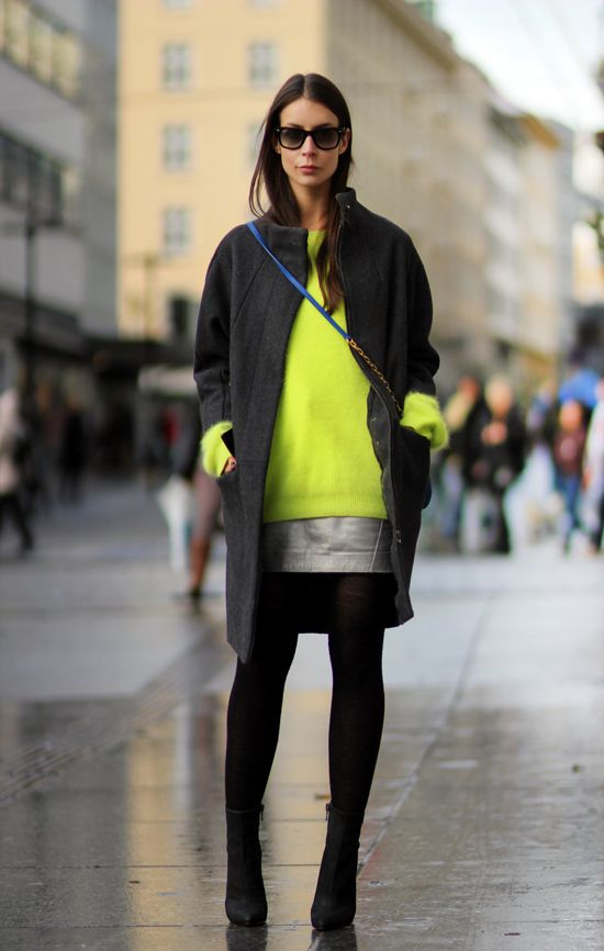 Add a shot of neon to transition a winter outfit for early spring! https://workinglook.com/2017/03/12/how-to-slay-spring-style-when-its-still-cold-out/