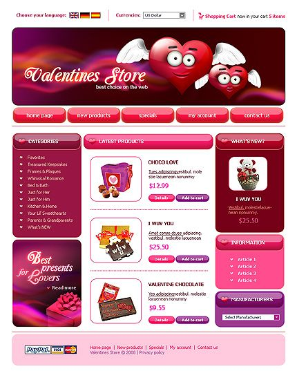 Valentine Store osCommerce Templates by Tequila