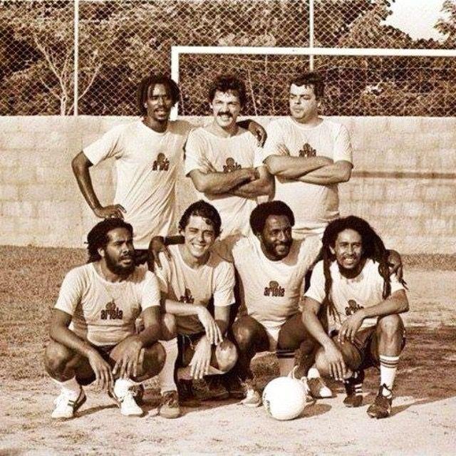 "FootBall Camp of Chico Buarque (Brazilian singer), Barra da Tijuca District, Rio de Janeiro, RJ, Brasil, March 1980: Junior Marvin (The Wailers), Toquinho (Brazilian singer), (?), Jacob Miller, Chico Buarque, Paulo Cesar ""Caju"" (Brazilian football player, Tri-Champion FIFA Mexico 1970) and Bob Marley"