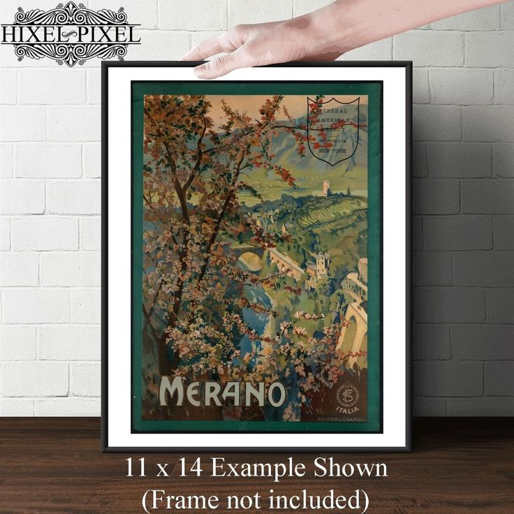 Vintage travel poster art wall decor Merano