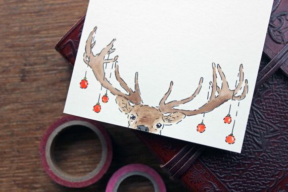 Set of 12 - Hand Drawn Christmas Card - Deer Xmas Card - Holiday Card - Animal Greeting Card