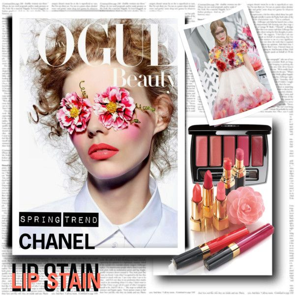 Lip Stain Spring Trend Chanel by stylepersonal on Polyvore featuring polyvore, beauty, Chanel and lipstain
