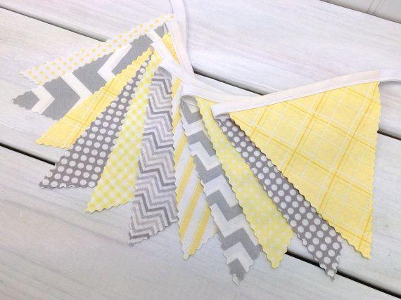 Bunting Fabric Banner, Fabric Flags, Nursery Decor, Birthday Decoration, Baby Shower - Yellow, Grey, Gray, Chevron, Gingham, Stripe, Dots